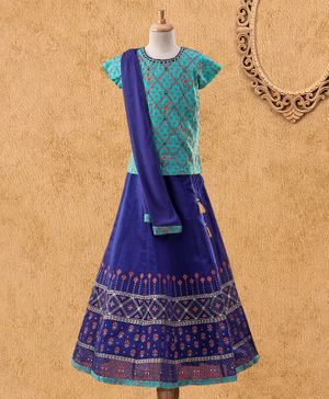 Global Desi Girl Short Sleeves Tiny Flower Print Choli With Lehenga & Dupatta Set - Ink Blue