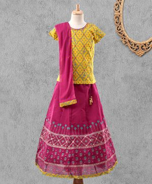 Global Desi Girl Short Sleeves Tiny Flower Print Choli With Lehenga & Dupatta Set - Magenta & Yellow