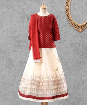 Global Desi Girl Three Fourth Sleeves Diamond Design Choli With Lehenga & Dupatta Set - Red