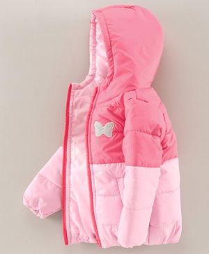 Babyhug Full Sleeves Hooded Quilted Jacket - Pink