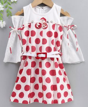 Enfance Cold-Shoulder Three Fourth Sleeves Polka Dot Printed Regular Dress - Red