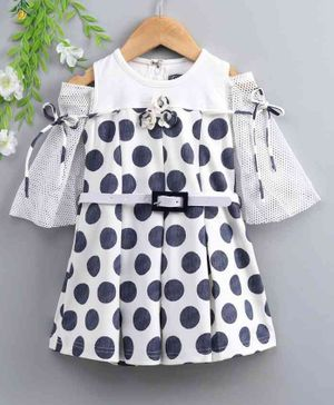 Enfance Cold-Shoulder Three Fourth Sleeves Polka Dot Printed Regular Dress - Blue