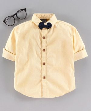 Rikidoos Solid Full Sleeves Shirt & Bow Tie Set - Yellow