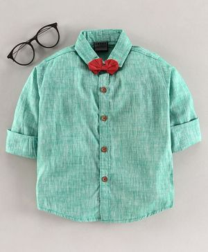 Rikidoos Full Sleeves Heather Shirt With Bow Tie - Green