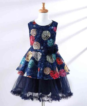 The KidShop Sleeveless Autumn Leaves Printed Tulle Flared Dress - Navy Blue
