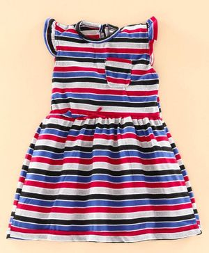 The KidShop Short Sleeves Striped Dress - Multi Colour