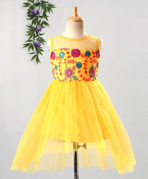 The KidShop Sleeveless High Low Style Floral Work Dress - Yellow