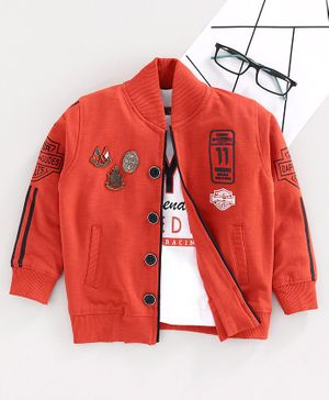 Dapper Dudes Full Sleeves Badges Jacket With Style Print T-Shirt Set  - Rust