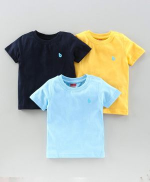 Babyhug Half Sleeves Tees Pack of 3 - Navy & Light Blue Yellow