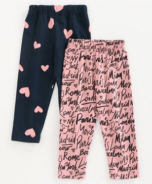 Doreme Full Length Leggings Heart Print Pack of 2 - Navy Blue Pink