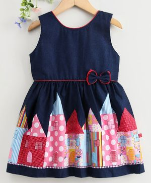Twetoons Sleeveless Frock House Print - Red Navy Blue