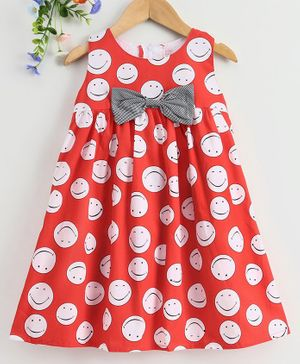 Twetoons Sleeveless A Line Printed Frock Bow Applique - Red