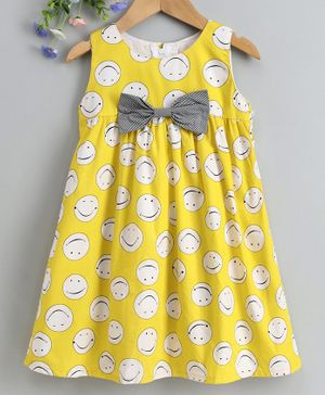 Twetoons Sleeveless A Line Printed Frock Bow Applique - Yellow