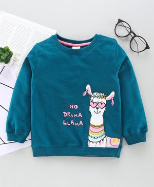 Babyhug Full Sleeves Sweatshirt Sheep Print - Blue