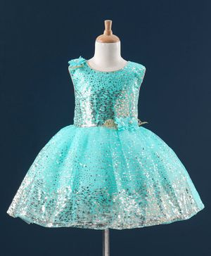 Enfance Sleeveless All Over Glitter & Corsage Tulle Flared Dress - Sea Green