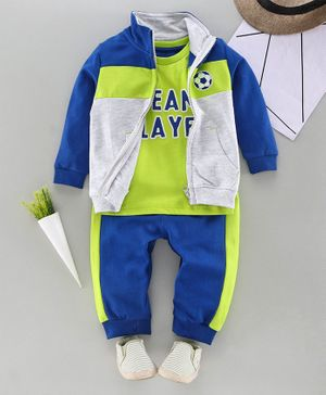Babyhug Tee & Lounge Pant with Full Sleeves Jacket Set Text Print - Blue Green