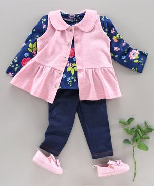 Babyhug Full Sleeves Top Jeggings & Layering Shrug - Pink Blue