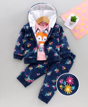 Babyhug Top Bottom & Hooded Jacket Floral Print - Pink Navy