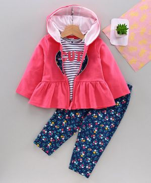 Babyhug Top Bottom & Hooded Sweat Jacket - Pink Navy