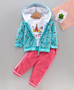 Babyhug Top Track Pant & Hooded Sweat Jacket Unicorn Print - Blue Pink
