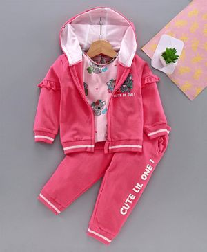 Babyhug Top Lounge Pant & Sweat Jacket - Pink