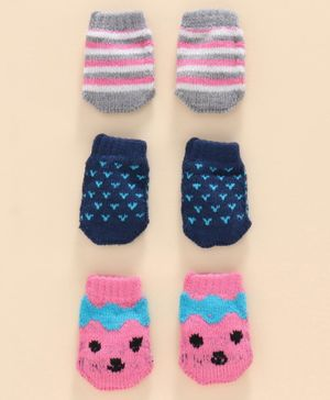 Model Mittens Pack Of 3 - Grey Pink Blue