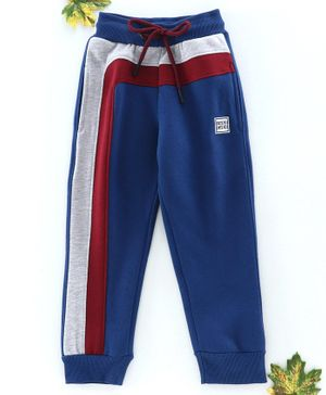 Stupid Cupid Full Length Colour Block Pattern Track Pants - Blue
