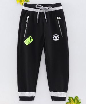 Stupid Cupid Full Length Foot Ball Patch Detailing Track Pants - Black