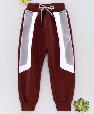 Stupid Cupid Colour Blocked Full Length Lounge Pants - Brown