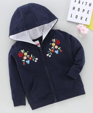 Babyhug Full Sleeves Hooded Sweat Jacket Floral Embroidery - Navy Blue