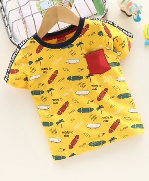 Babyhug Half Sleeves T-Shirt Skateboard Print - Mustard Yellow