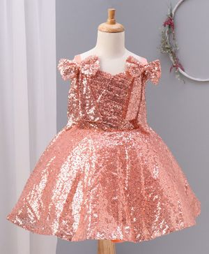 Enfance Sleeveless Bow Applique Sequined Dress - Peach