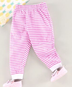 Babyhug Full Length Striped Lounge Pant - White Pink