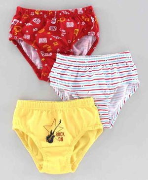 Red Rose Briefs Guitar Print Pack of 3 - White Red Yellow
