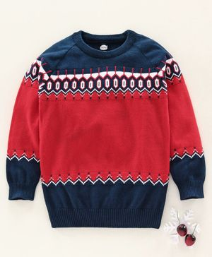 Teddy Full Sleeves Sweater Chevron Design - Red