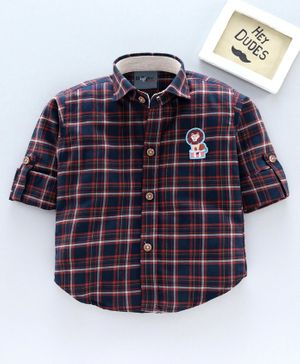 Dapper Dudes Full Sleeves Checked Shirt - Navy Blue