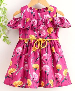 Peppermint Half Sleeves Flower Print Flared Hem Dress With Belt - Pink