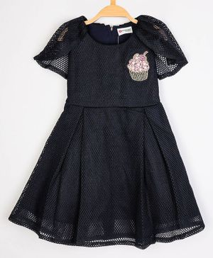 Peppermint Short Sleeves Cup Cake Embroidery Detailing Dress - Navy Blue