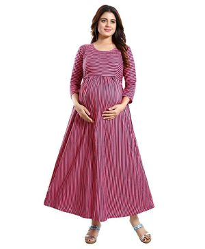 Mamma's Maternity Three Fourth Sleeves Striped Maxi Dress - Pink