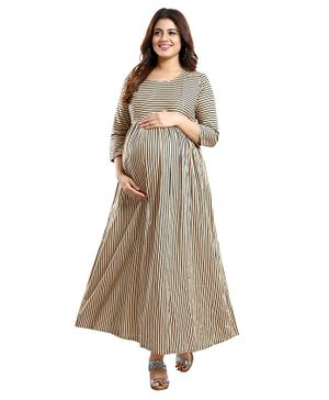 Mamma's Maternity Three Fourth Sleeves Striped Maxi Dress - Beige