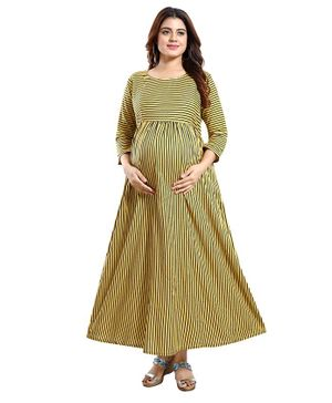 Mamma's Maternity Three Fourth Sleeves Striped Maxi Dress - Yellow