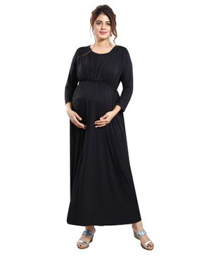 Mamma's Maternity Full Sleeves Solid Colour Dress - Black