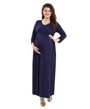 Mamma's Maternity Full Sleeves Solid Colour Dress - Navy Blue