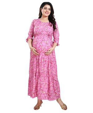 Mamma's Maternity Maxi Length Three Fourth Sleeves Flower Print Dress - Pink