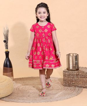Babyhug Knee Length Ethnic Dress Floral Print - Fuchsia