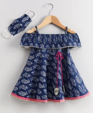 Babyhug Knee Length Off Shoulder Ethnic Dress With Mask Leaf Print - Navy Blue