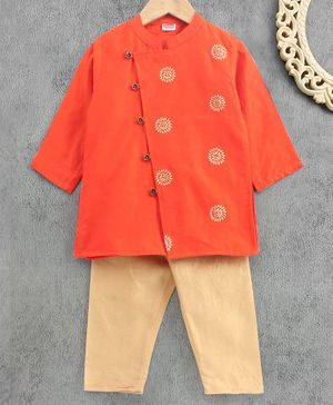 Babyhug Full Sleeve Kurta & Pyjama Set Floral Print - Orange