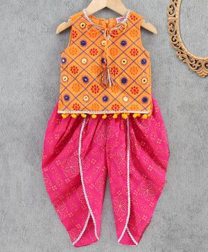 Babyhug Sleeveless Indowestern Top & Dhoti Set - Fuchsia