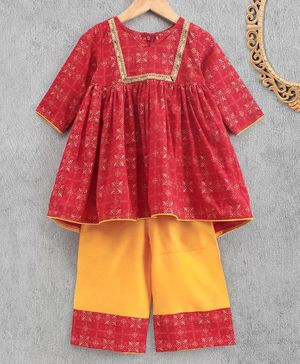 Babyhug Indowestern Kurti And Pant - Red Mustard Yellow