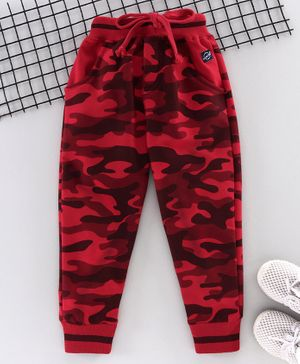 Olio Kids Full Length Jogger Pant Camouflage Print - Red
